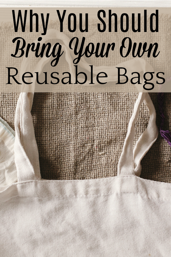 reusable shopping bag on burlap background