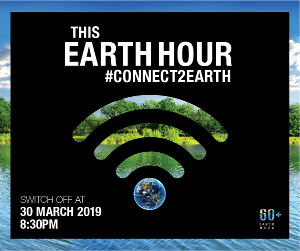 Earth Hour logo with event time