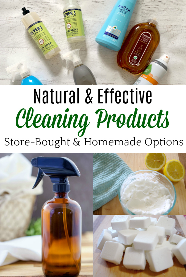 collage of natural cleaning products