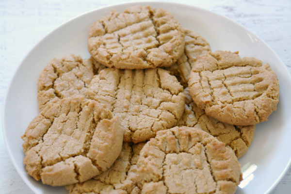 Sunflower seed butter cookies on white plate