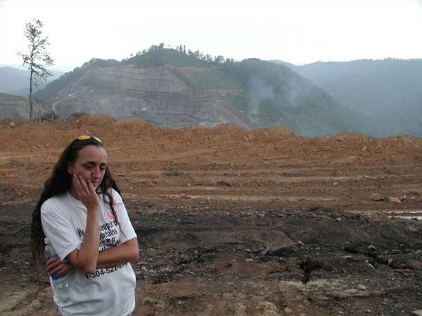 Maria Gunnoe by mountaintop coal removal mining site