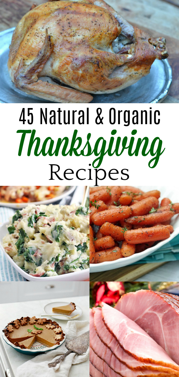 collage of natural thanksgiving recipes