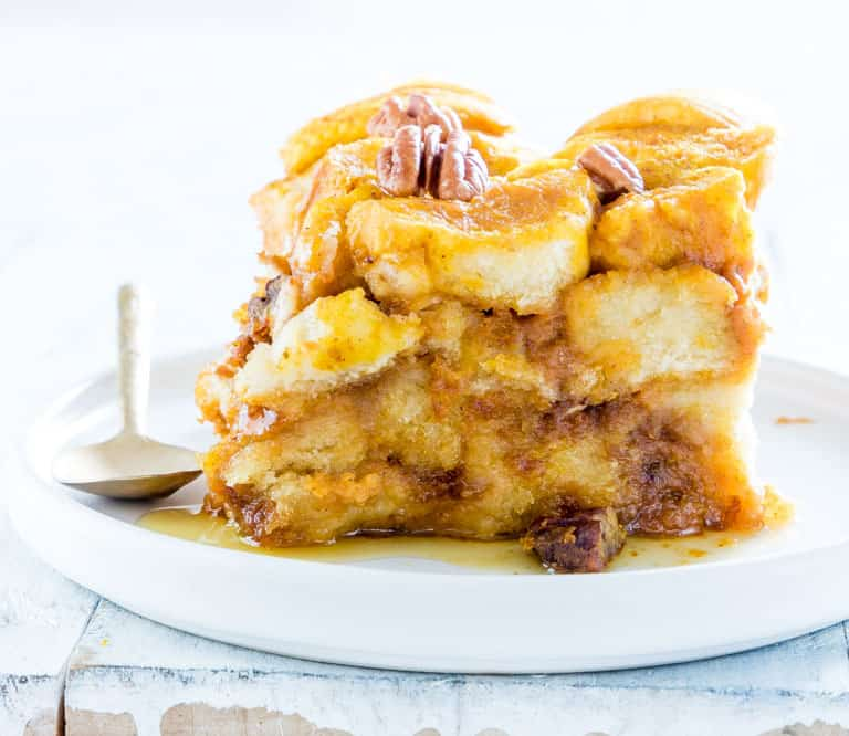 bread pudding on plate