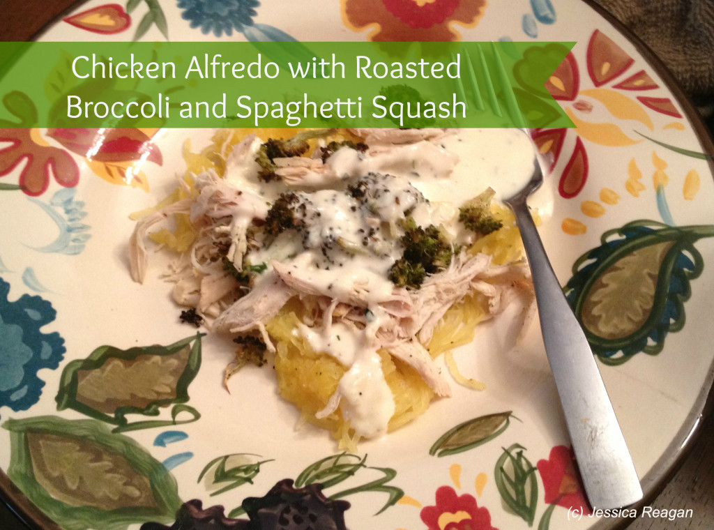 Chicken Alfredo with Roasted Broccoli and Spaghetti Squash