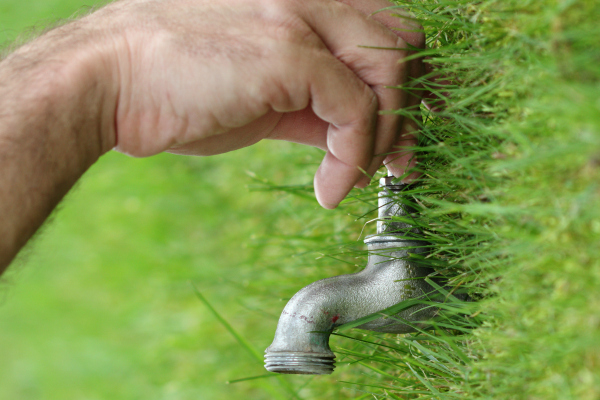 person turning faucet on grass wall