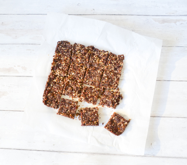chocolate cherry bars on parchment paper cut into squares
