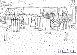 drawing of clothing on clothesline