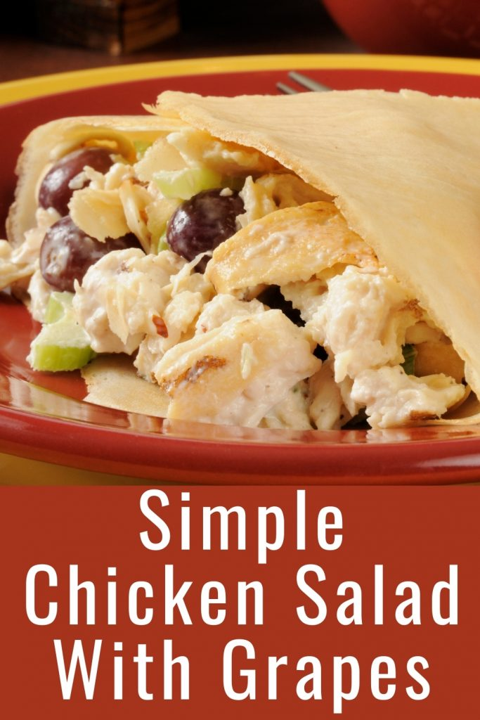 chicken salad with grapes and strawberries in a wrap