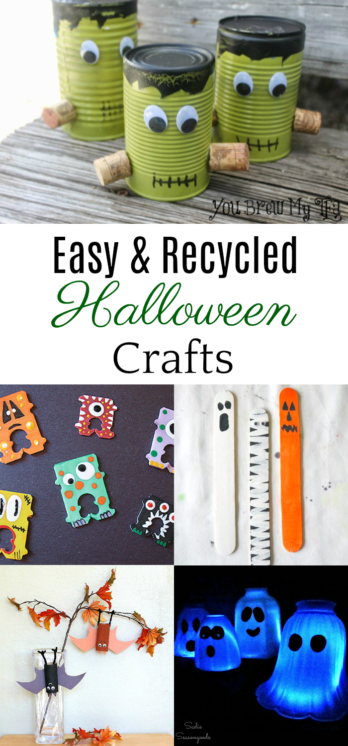 collage of recycled Halloween crafts