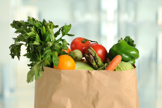 groceries in a paper bag