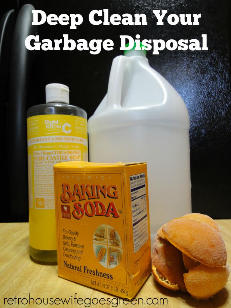 vinegar, baking soda, soap and citrus peels