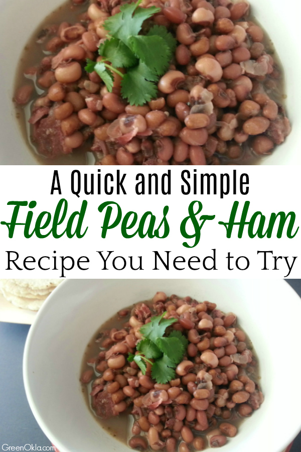 field peas and ham in white bowl