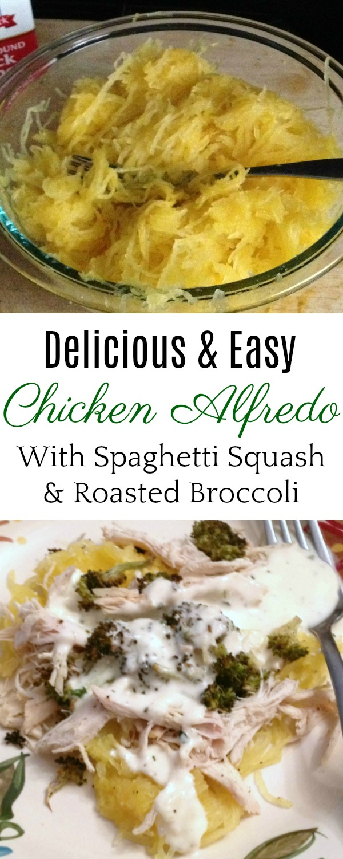 Chicken Alfredo with Roasted Broccoli and Spaghetti Squash