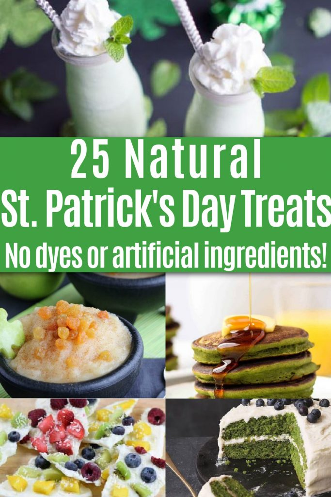 collage of natural st Patricks day treats