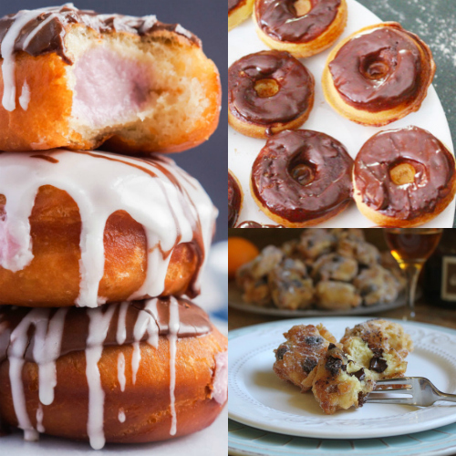 Collage of homemade donuts