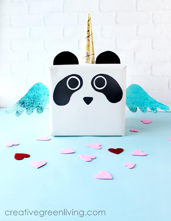 panda unicorn box on blue table
