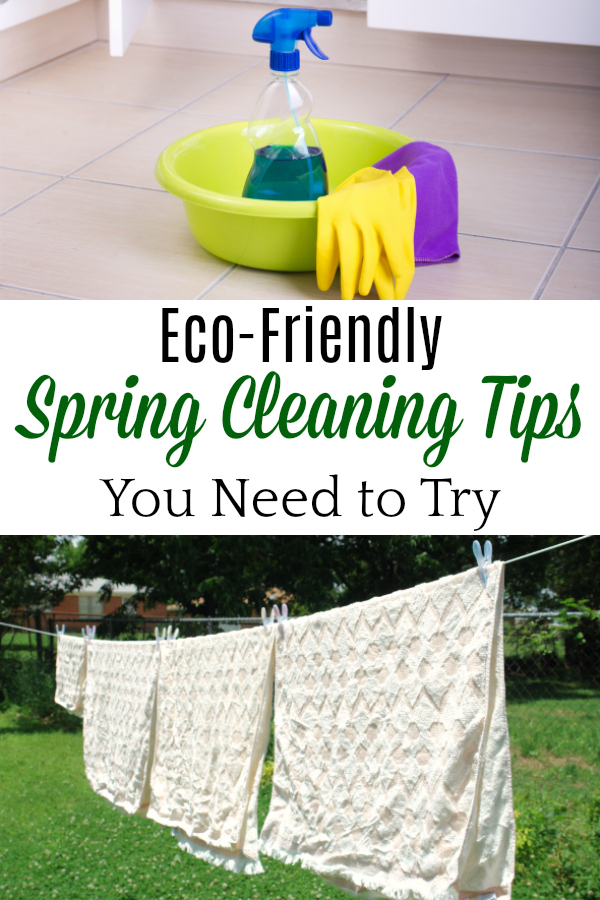 collage with cleaning supplies and towels on clothesline