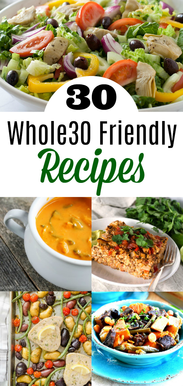 collage of several whole30 dishes
