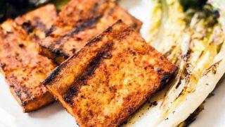 Charred Romaine with Paprika Marinated Grilled Tofu
