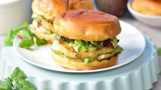 Grilled halloumi and pineapple veggie burgers with avocado
