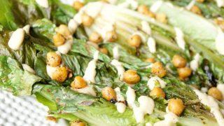 Vegan charred caesar salad with crispy chickpeas