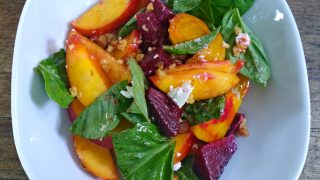 Beet and Peach Salad with Basil and Goat Cheese