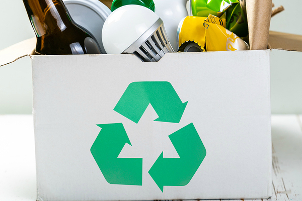 recyclable materials and box with symbol
