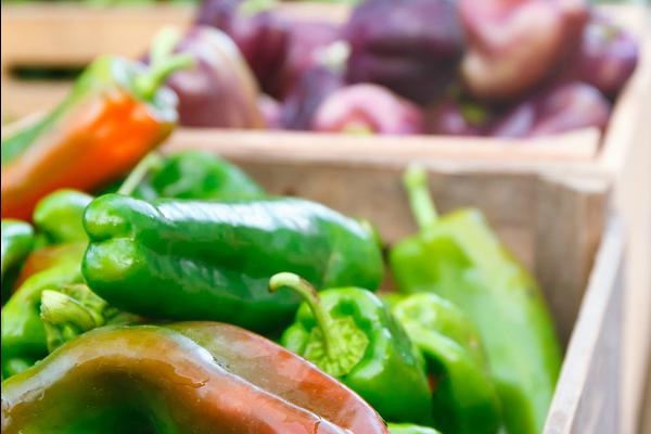 summer produce at outdoor farmers market