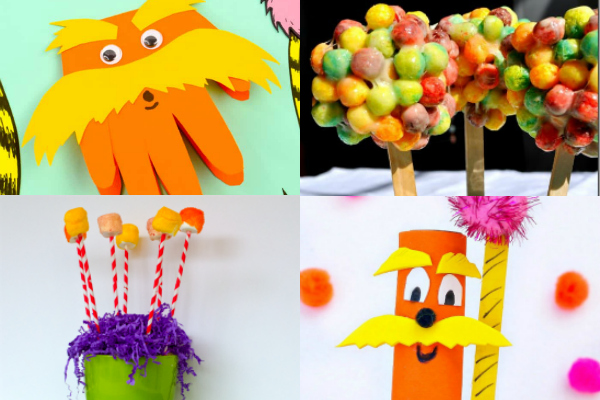 collage of The Lorax crafts