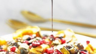 Roasted Brussels Sprouts Delicata Squash and Cranberries
