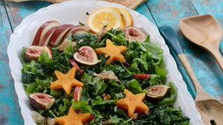 Festive Kale Salad, Butternut Squash and Honey Rosemary Vinaigrette