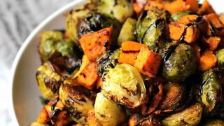 Balsamic Glazed Brussels Sprouts and Sweet Potatoes
