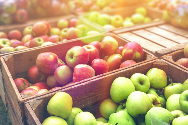 Fresh farmers apples at local outdoor market.