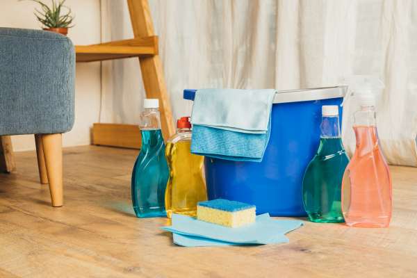 household products and bucket