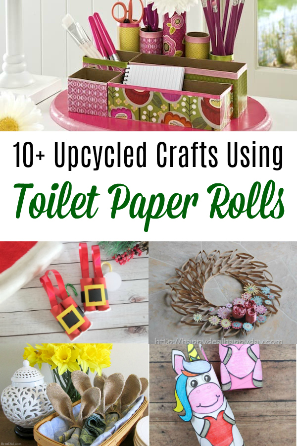 collage of upcycled crafts using toilet paper rolls