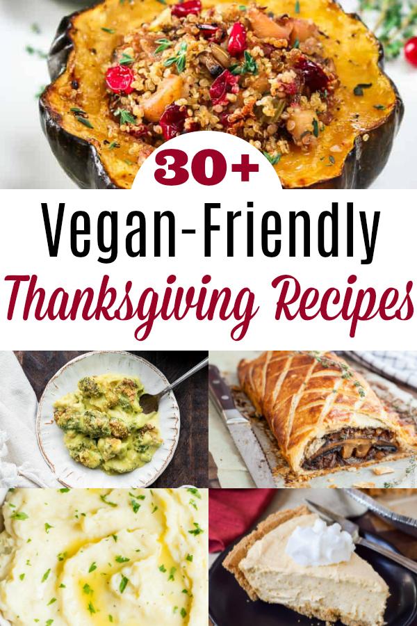 collage of vegan thanksgiving recipes