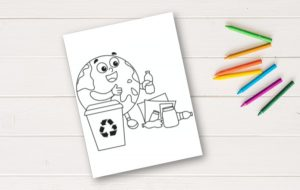 earth day coloring page on white table with crayons