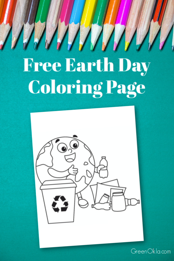 colorful pencils on teal background with Earth Day coloring page