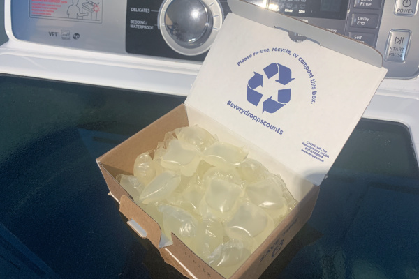Dropps box on washing machine