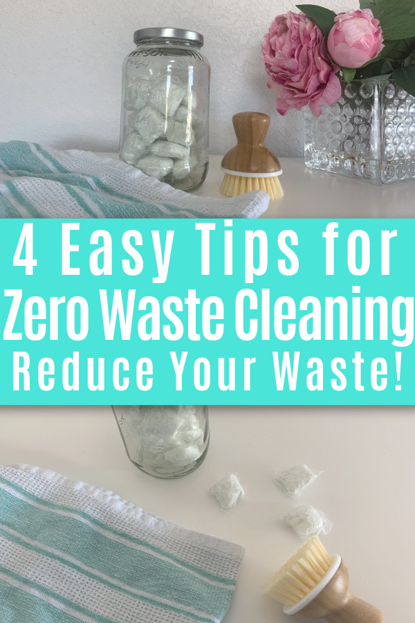 collage of zero waste cleaning supplies on white table