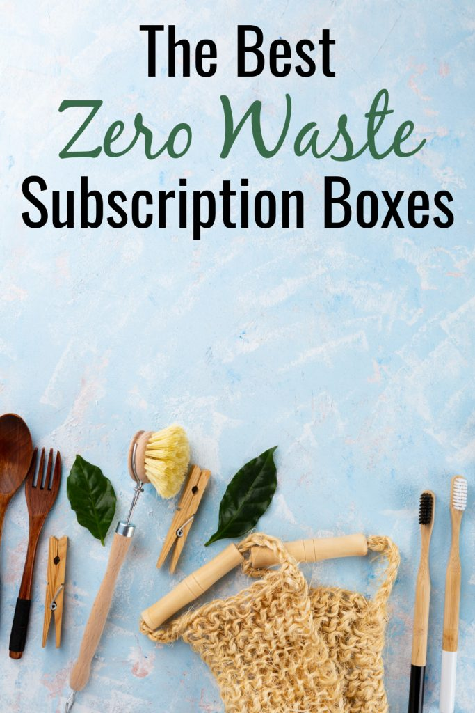 zero waste products on blue background with text the best zero waste subscription boxes