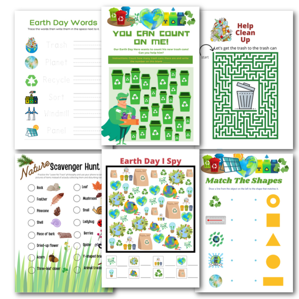 preview of earth day activities printables