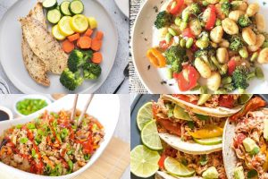 four easy healthy dinners on plates in collage