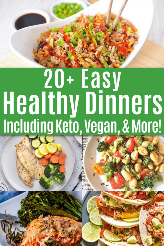 collage featuring five easy healthy dinner recipes