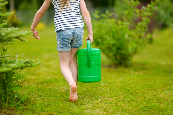 little kid carrying watering can in garden