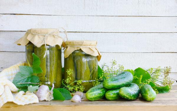 homemade canned cucumbers in jar
