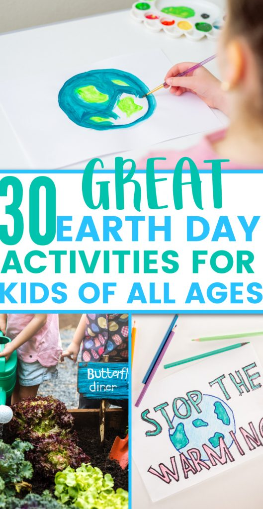 collage of earth day activities for kids
