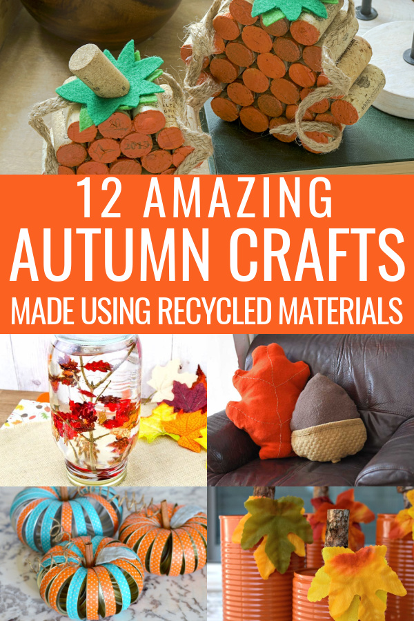 collage of recycled fall crafts