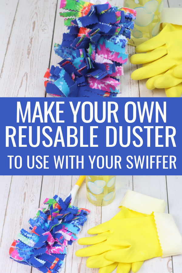collage of reusable swiffer duster